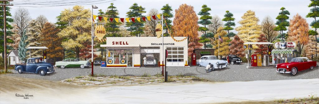 """When America Was Great"" is a fall art print featuring the Shell gas station at Brooks Crossroads in the western part of Yadkin County, NC. It is a view of the station as it appeared in 1957 Vintage cars and all."