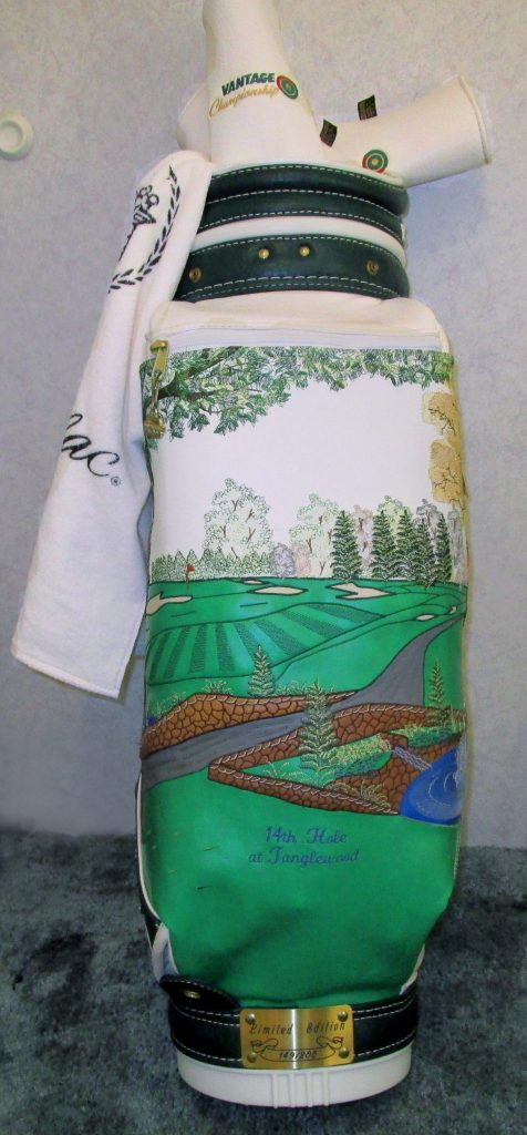"""Patricia Hobson's #149 of 200 limited edition golf bag embroidered with the scene of the """"Stone Bridge"""" white leather."""