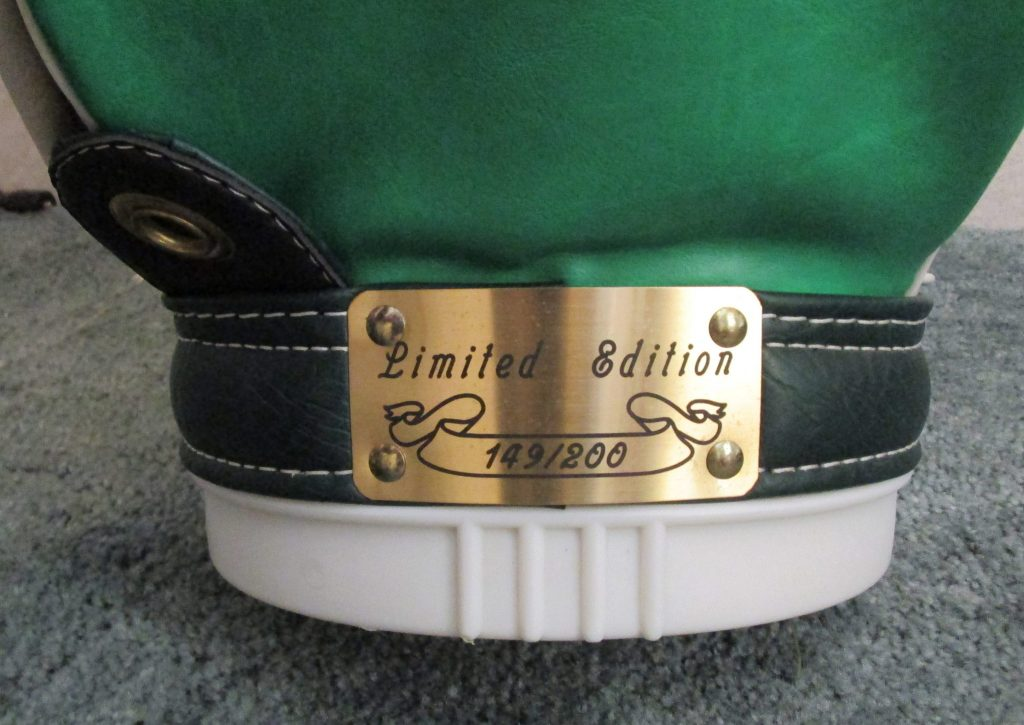 This is a close up picture of the Limited Edition 149 out of 200 plaque on the golf bag pictured above.