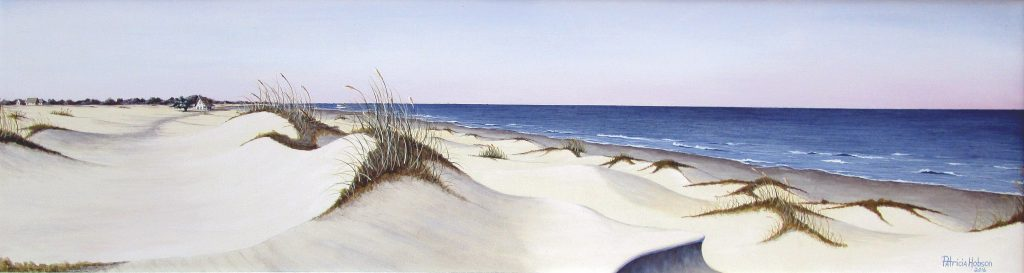 """On the Beach"" is a painting featuring a beach on the North Carolina shore."