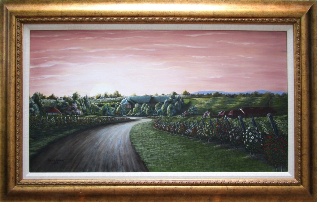 """Shelton's Vineyard"" is a painting of Shelton's Vineyard of Dobson, North Carolina. The view is from the entrance drive way. There are rose bushes and grape vines on either side of the drive leading right up to the winery with the peachy sunset in the west."