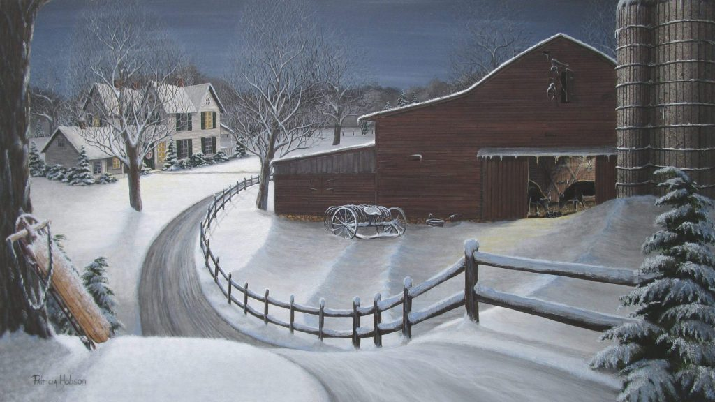 An art print of a farm house and an old barn, on a snowy evening with three generations for the same cow family.