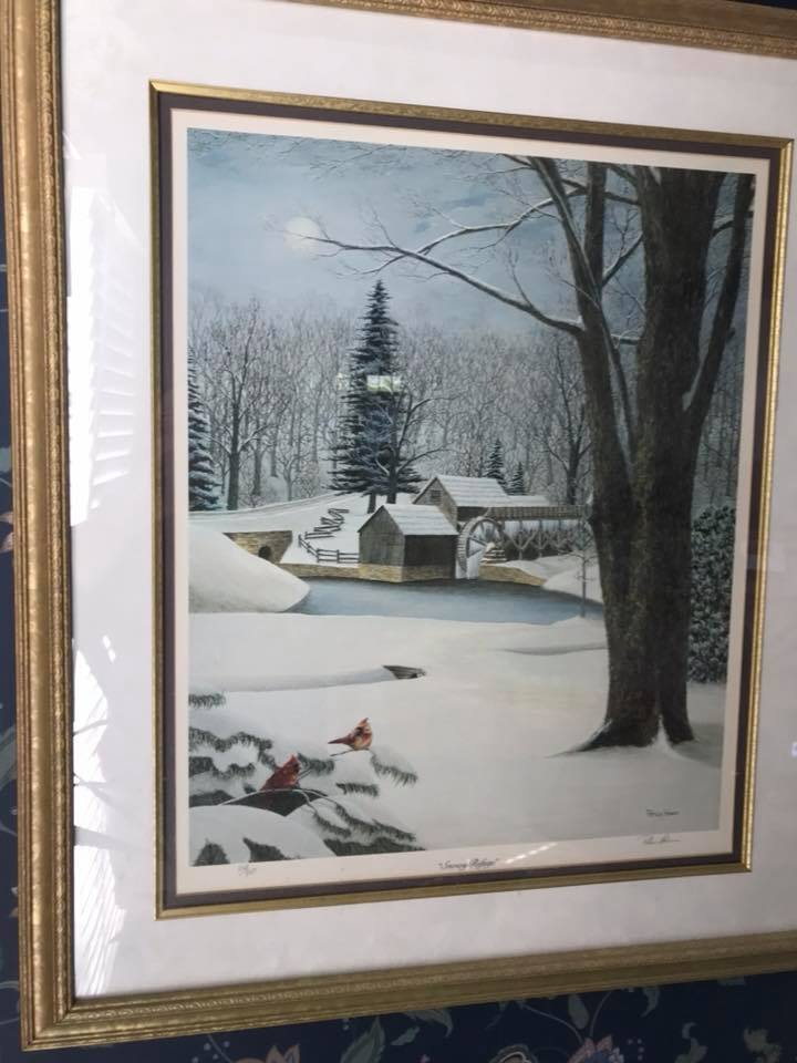 "Framed ""Snowy Refuge"" print by Patricia Hobson"
