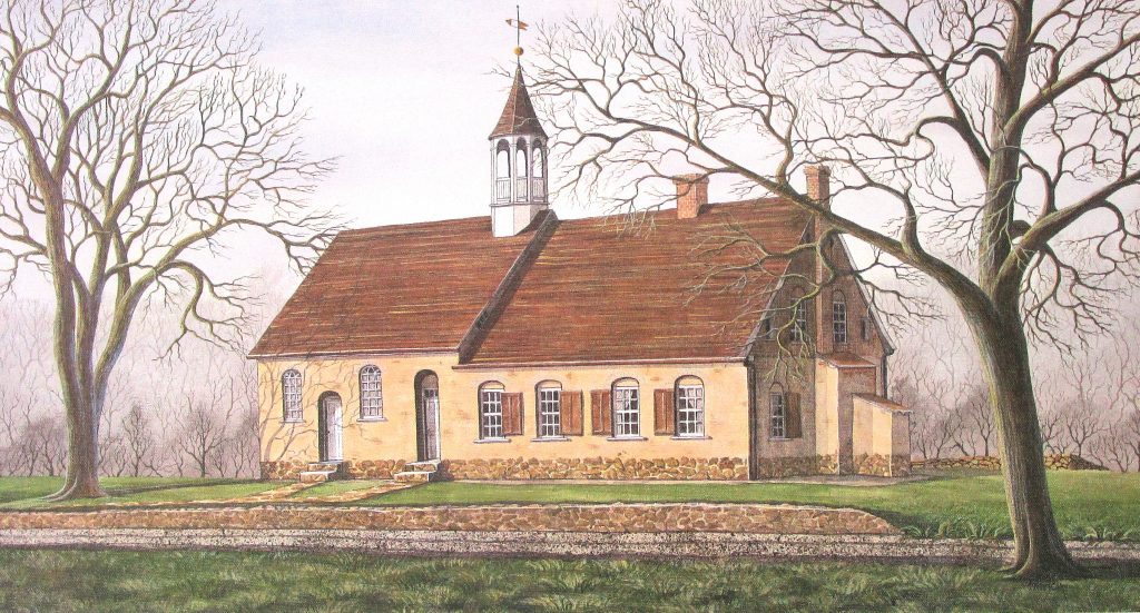 Historic Bethabara Church in the Moravian settlement of Bethabara just outside of Winston Salem, NC a is featured in this early spring art print by American country Artist Patricia Hobson.