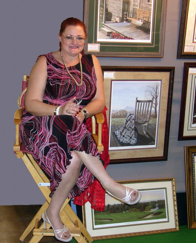 This is American Country Artist Patricia Hobson at an art show in Philadelphia.