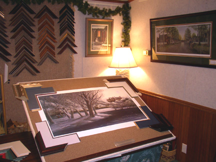 Custom Framing Table at Patricia's Gallery and Frame Shop.