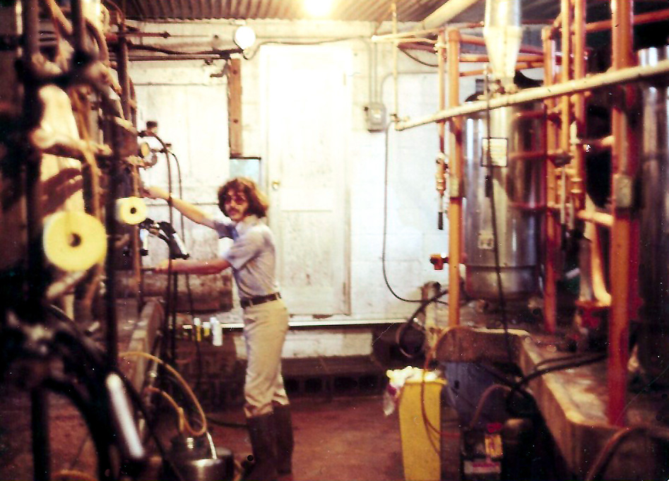 Felix at work milking the cows..