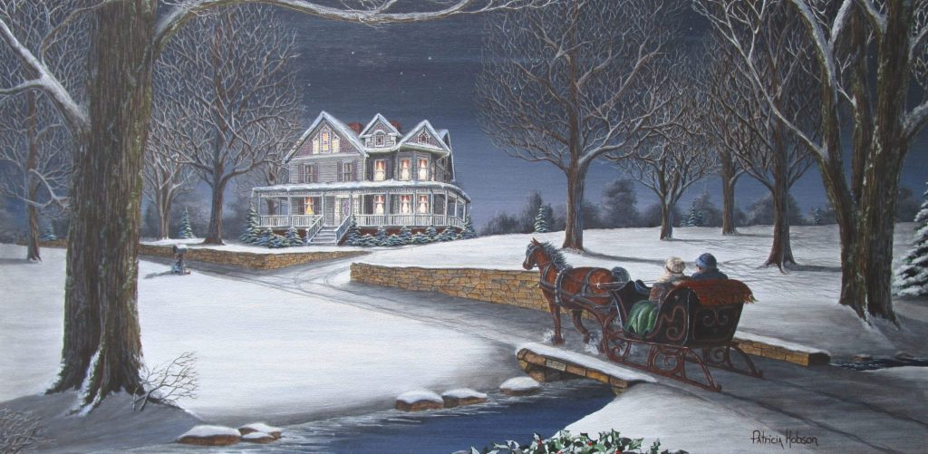 This winter art print features a couple taking a sleigh ride by a beautiful Victorian home.