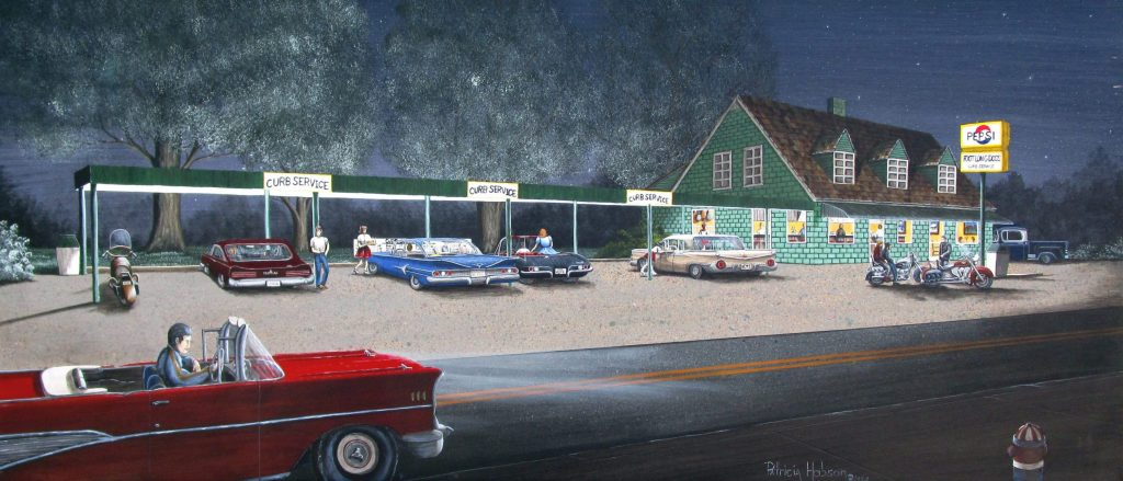 This art print is a view of a diner as it looked in the 1950's with the vintage cars, motor cycles and of course servers on roller skates.