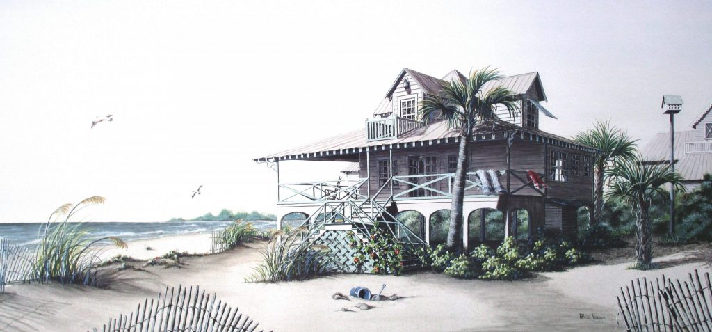 An art print features a Pawley's Island, SC beach house that will put a bit of fresh air on any wall of your home.