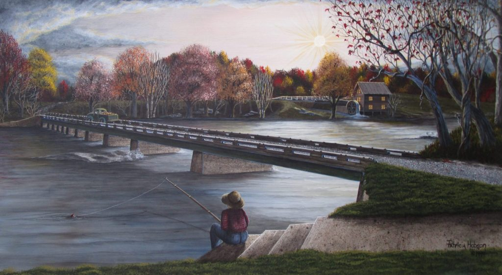 Rockford, North Carolina's old one lane bridge that crossed the Yadkin River is featured in this limited edition print with a young boy fishing in the early morning on the bank.
