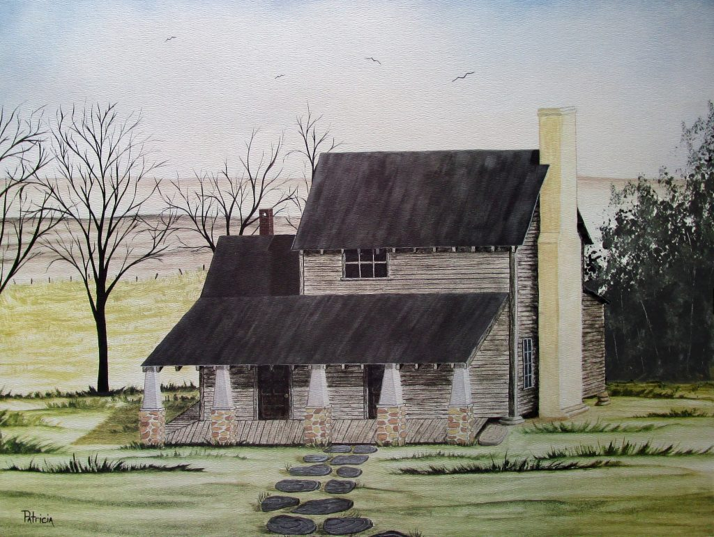 This historic art print by artist Patricia Hobson features the old Stephen Hobson II home built on our property in 1785.