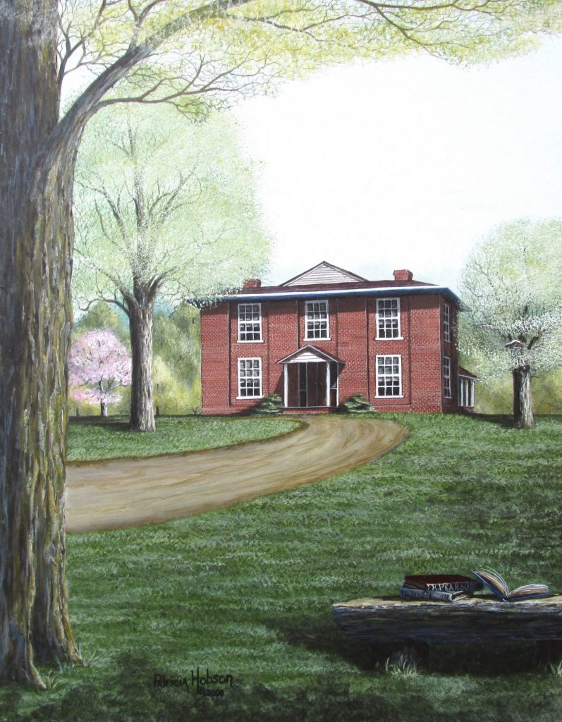 """Richmond Pearson's Dream"" is a spring and summer art print featuring the law school that Richmond Pearson built near the banks of the Yadkin River in western North Carolina."