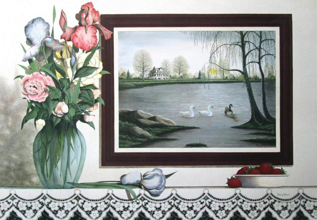 This is a must see spring art print still life featuring a landscape painting on the wall in a still life scene with a vase of irises and peonies and a bowl of strawberries.