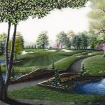 """The Stone Bridge"" features the 14th hole at the Tanglewood Golf Course in Clemmons, North Carolina. It is 1 of 3 golf prints by American Country Artist Patricia Hobson."