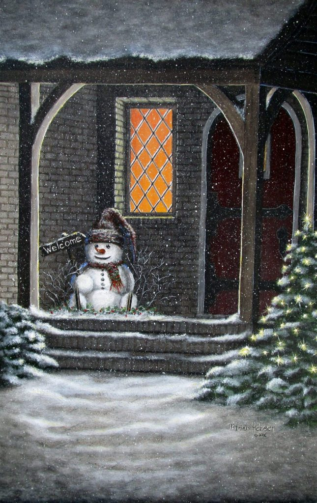 A winter art print with a little snowman sitting on a porch holding a welcome sign and a tree lit with tiny lights next to the porch.