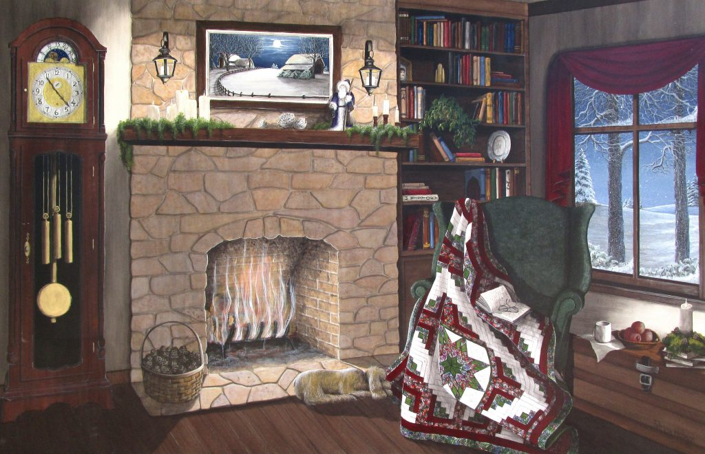 "This nostalgic art print called ""My Best Friend"" is a cozy scene all about a warm fire, a beautiful quilt, a good book and a puppy on a winter's night."