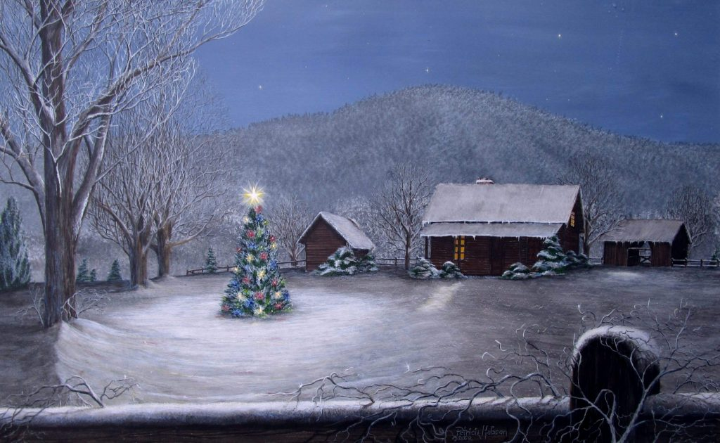 A snowy winter scene of a log cabin at the base of Star's Mountain on Christmas Eve with a brightly lit tree out front.