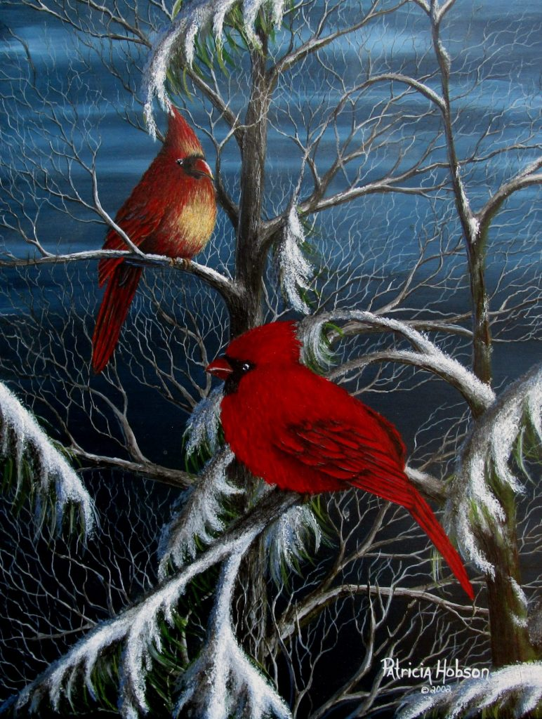 """The Meeting"" is an art print featuring a pair of cardinals meeting in a pine tree on a snowy evening."