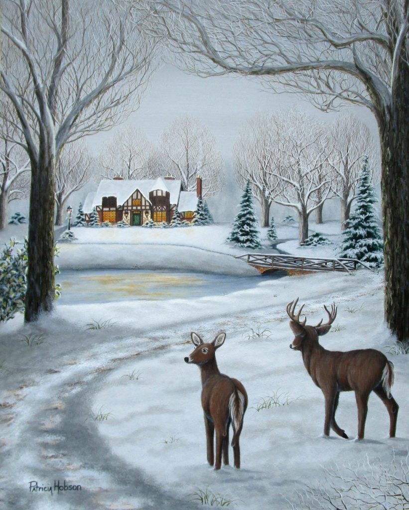 """The Warmth of Home"" a winter art print featuring a pair of deer standing watch by a mountain home on a snowy afternoon by American country artist Patricia Hobson."
