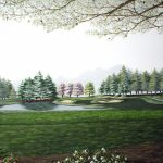 """This beautiful golf print features the """"12th Hole at Tanglewood"""" at the Tanglewood golf gourse in Clemmons, North Carolina by American Country Artist Patricia Hobson."""