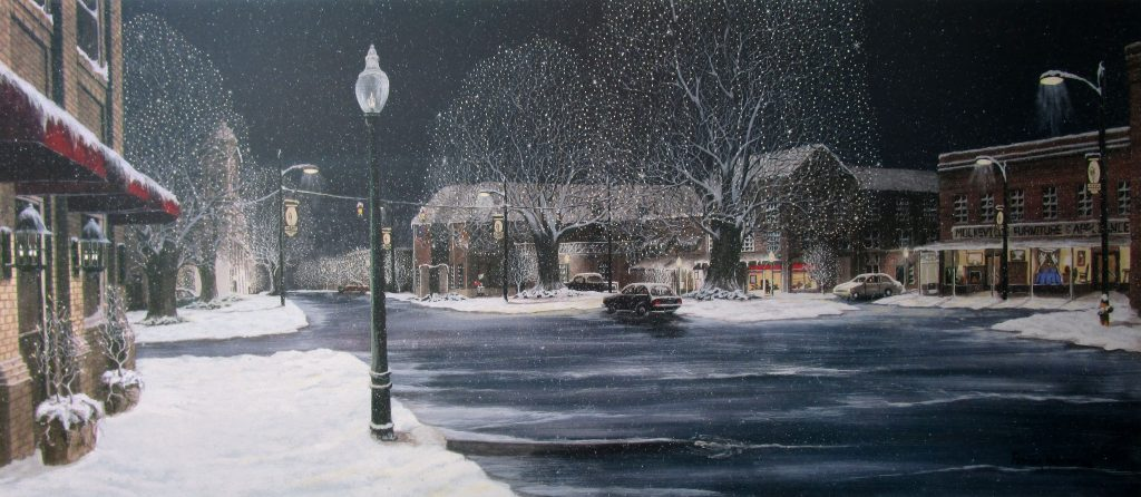 Art print featuring a snowy evening in downtown Mocksville, North Carolina with Icy streets, Christmas lights in all the trees and last minute shoppers.
