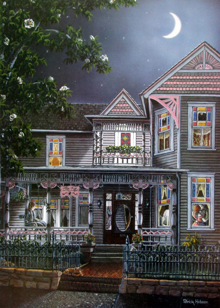 "Nostalgic art print ""Lady Anne's"" features the historic L.L. Lun house in Winston Salem,NC."