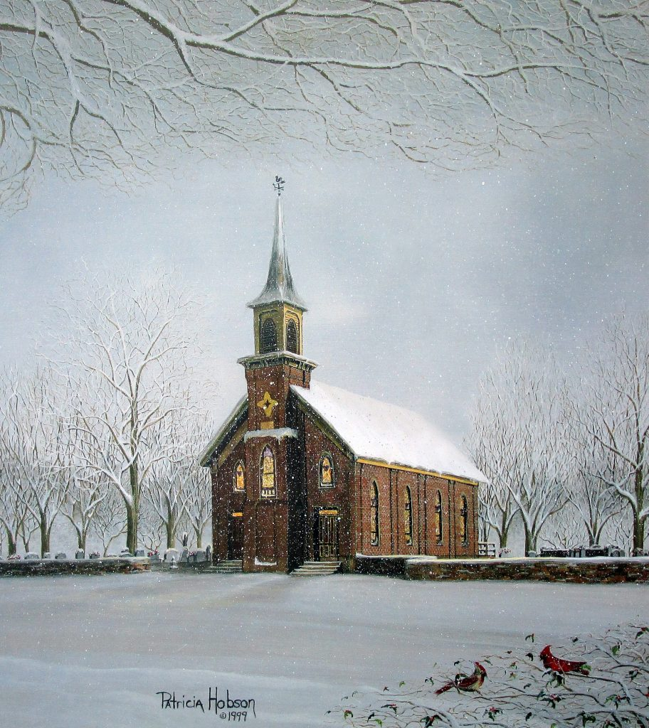 """The Chapel"" features the Fulton Methodist Church in Davie County, NC. Painted by American Country Artist Patricia Hobson."
