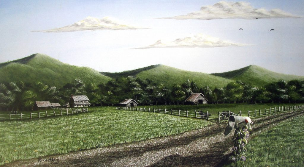 This summer art print features a small farm in the foothills of North Carolina with a mailbox at the end of the drive with a letter inside.