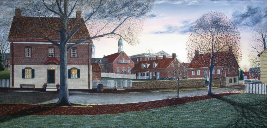 """""""Our Daily Bread"""" This limited edition print is an early morning sunrise over the Winkler Bakery in the Moravian village of Old Salem in North Carolina. Also featured in this fall scene is the Boys School, the book store, Home Moravian Church and a bit of Salem College in the distance."""