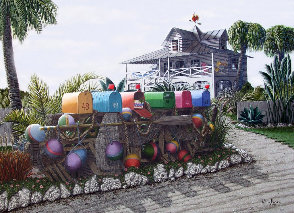 "Newest Print by American Country Artist Patricia Hobson titled ""Wish You were Here"" featuring a row of brightly colored mail boxes in Key West, Florida."