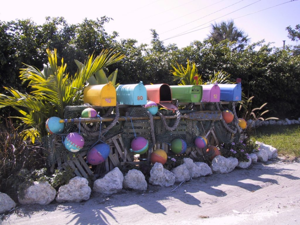 """Photograph of mail boxes in Key West that were put in the """"Wish You Were Here"""" print by American Country Artist Patricia Hobson"""