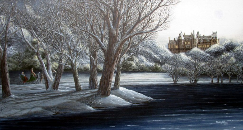 """""""An American Castle"""" is a beautiful historical snow scene featuring a couple taking a moonlight sleigh ride by the lake behind the Biltmore Estate in Asheville, NC. The castle stands brightly on the hill in the distance."""