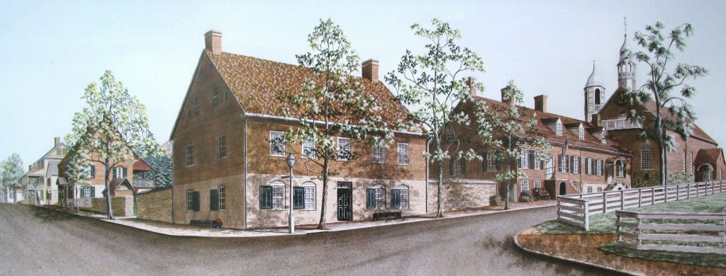 """""""Salem"""" The Moravian settlement of Old Salem, North Carolina. In this is a beautiful art print the main feature is the """"Boys School"""" leading to Home Moravian Church to the right and the Winkler Bakery to the left."""