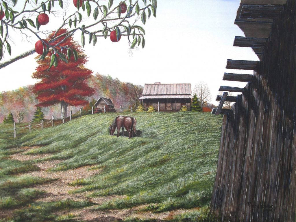 """"""" Autumn Breeze""""-The brilliantly colored leaves of autumn begin to fall at apple season all around a log cabin just below """"Star Mountain"""" in the foothills of North Carolina."""