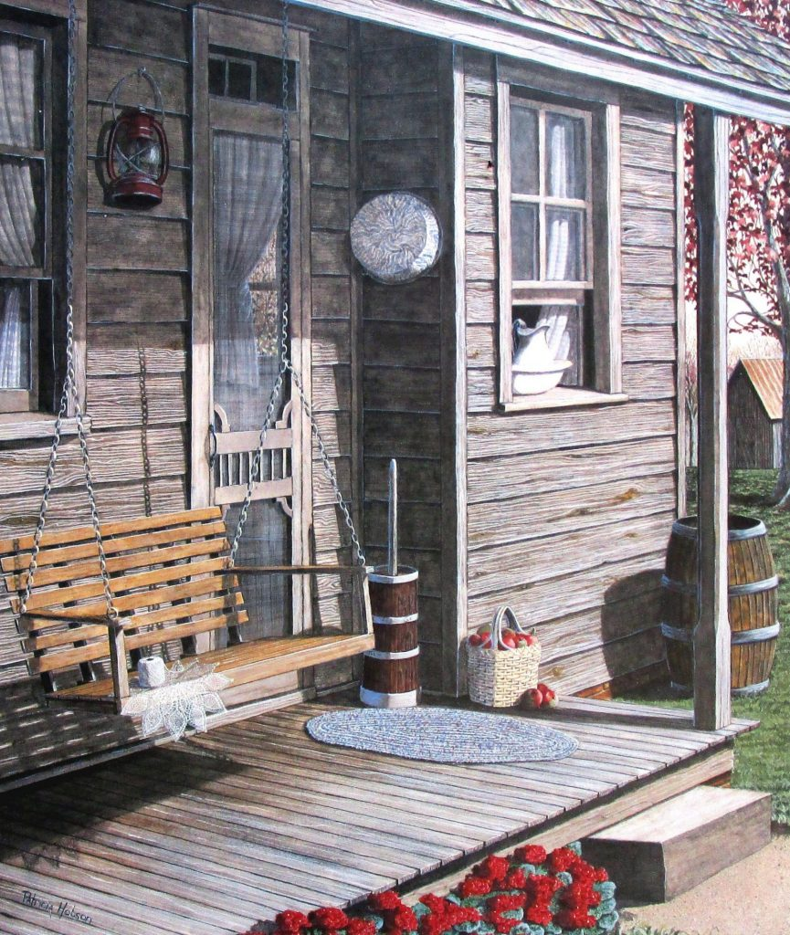 """""""Precious Memories"""" a country art print that will tug at your heart strings. This a painting that I did of my Granny's back porch with her crocheting on the swing."""