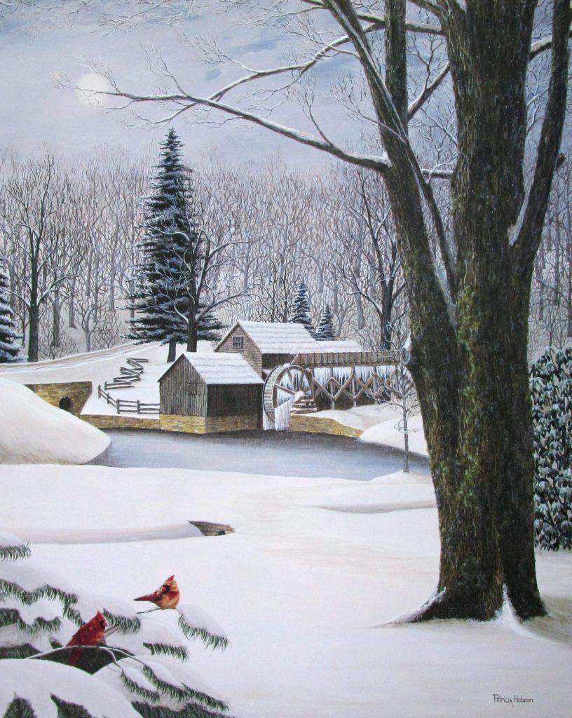Mabry Mill along the Blue Ridge Parkway of Virginia is featured in this beautiful art print. A pair of cardinals are sitting on snow laden pine boughs up front with a path leading to the icy mill pond.