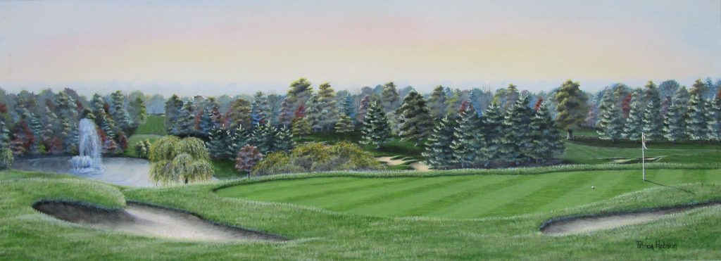 Beautiful fall print of the 18th hole at Tanglewood Golf Course in Clemmons. The green sits right outside of the club house high above the lake with it's huge fountain.