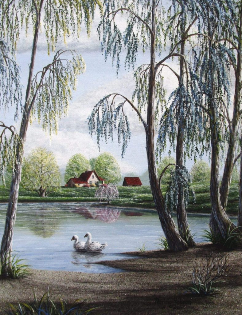 Geese swimming along the edge of a pond under the willow trees is the focal point of this art print. The pond is on our farm and the house in the distance is our neighbor's.