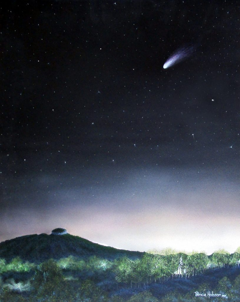 This small astrological art print shows the Hale Bopp Comet as it was seen in the night sky over Pilot Mountain on July 22, 1995.