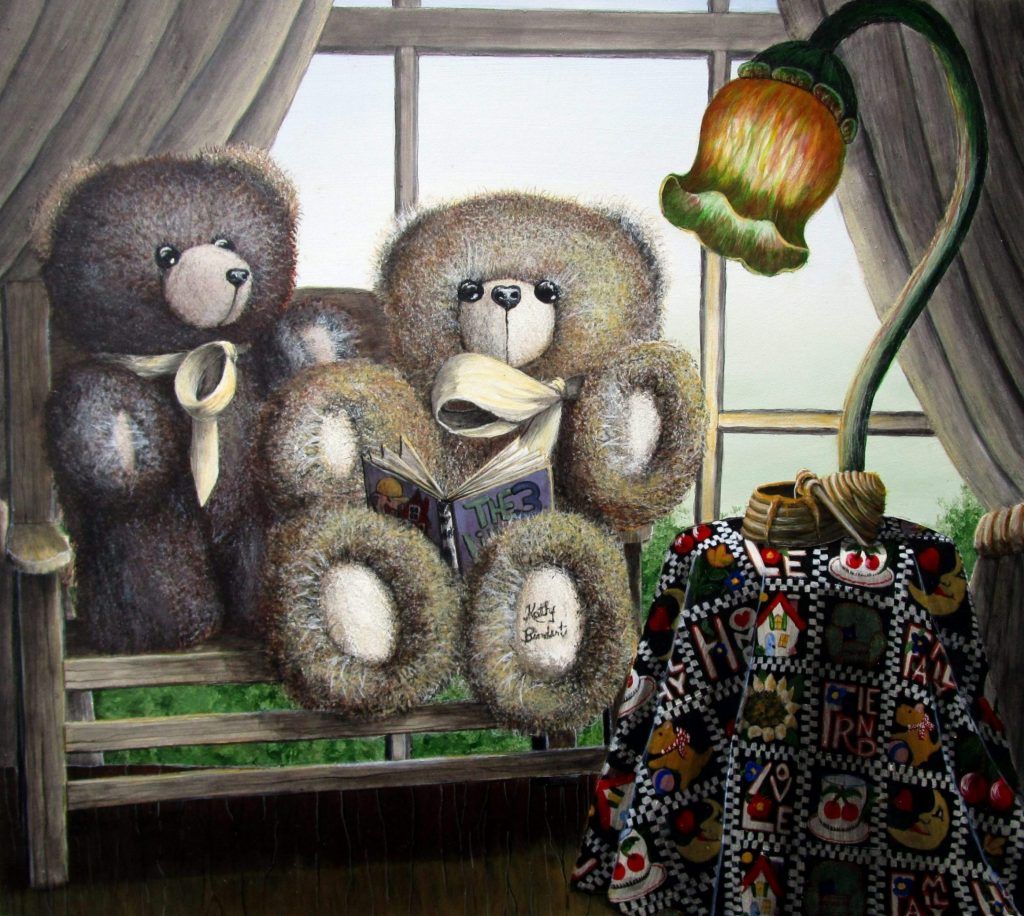 """""""Story Time"""" is an art print featuring two fuzzy Teddy bears sitting on a bench reading the story of """"The Three Little Pigs.""""-"""