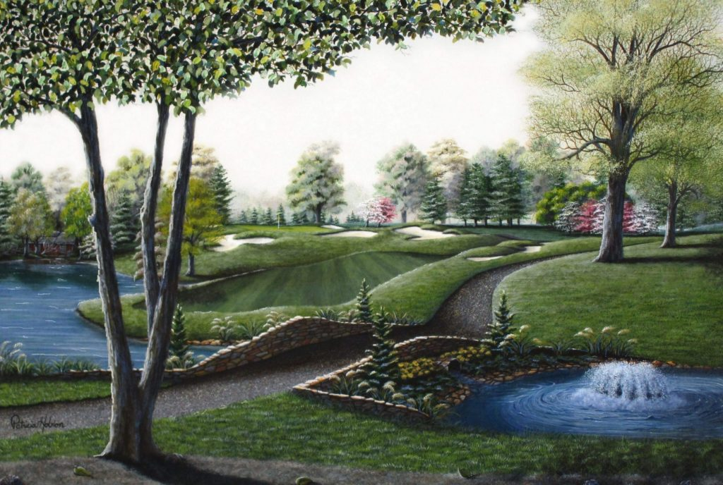 """""""The Stone Bridge"""" The 14th hole at Tanglewood Golf Course in Clemmons, North Carolina is featured in the beautiful golf print. Up front is the trail that crosses over the stone bridge right by the fountain. In the distance is the lake and famous 14th hole."""