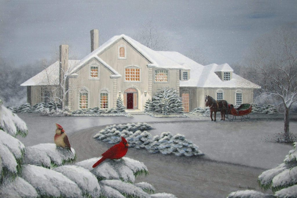 """""""The Gathering""""- an art print featuring a pair of cardinals sitting on snow laden pine boughs watching a horse and sleigh in front of a big contemporary home."""