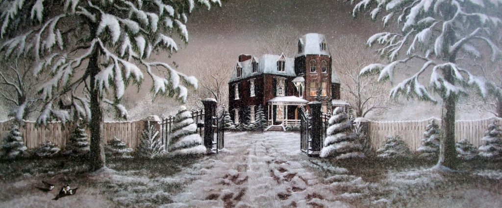 """This dramatic art print, """"A Winter's Gift"""" is a view of the majestic Tate Mansion located in Morganton, North Carolina. the home is surrounded by a scalloped picket fence, trees laden with snow and the birds grabbing the last bits of food left on the ground under the feeder."""