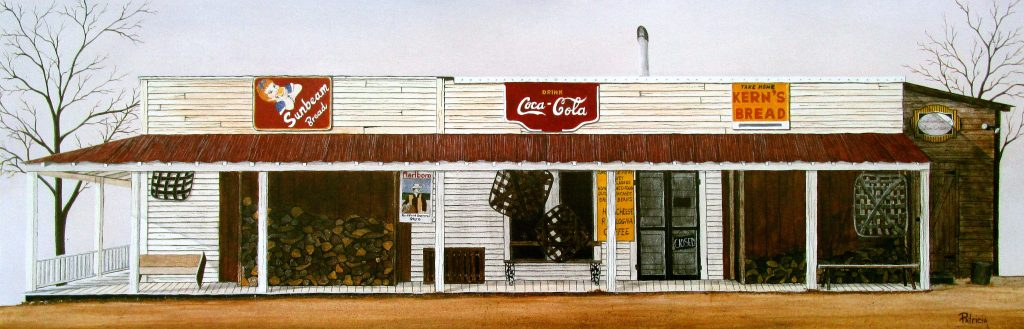 """This Historical art print features the old Rockford General Store in Rockford, NC. It is called """"Nostalgic Rockford."""""""