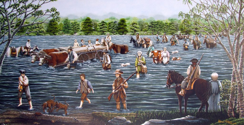 This art print shows Daniel Boone leading his very large family across the Yadkin River at the Shallow Ford in Huntsville, North Carolina.